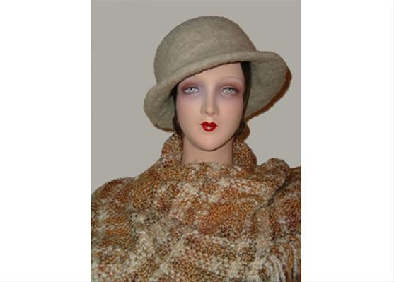 Tweed look Natural hapshire hat w/ shawl