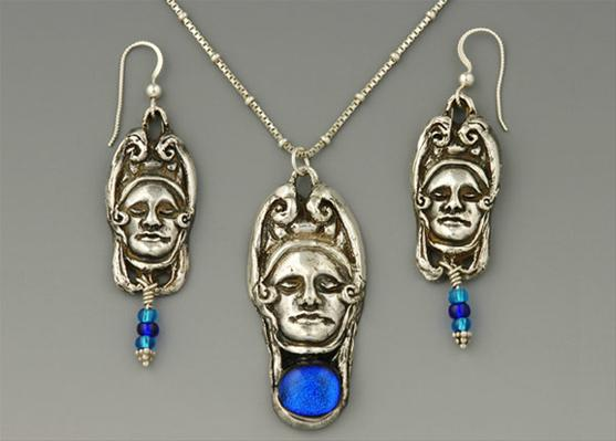 Gothic Woman Pendant and Earrings