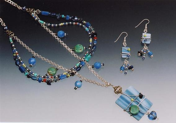 Multi-Strand Blue Necklace & Earrings