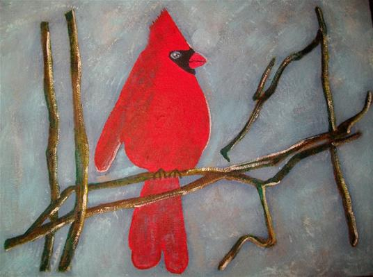 Cardinal Red in WinterAcrylic on canvas.